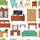 Furniture interior home design modern living room house seamless pattern background vector illustration Royalty Free Stock Photo
