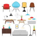 Furniture interior icon set. Furniture interior decor elements and room design. Vector illustration concept icon set flat home decor sign Royalty Free Stock Image