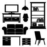 Furniture interior icons Stock Photos