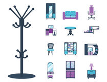 Furniture interior icons home design modern living room house comfortable apartment vector illustration Stock Photos