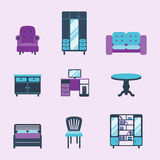 Furniture interior icons home design modern living room house comfortable apartment vector illustration Royalty Free Stock Image
