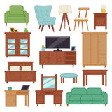Furniture interior icons home design modern living room house sofa comfortable apartment couch vector illustration Royalty Free Stock Photo