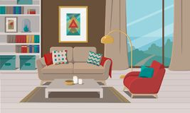 Furniture. Interior of a living Room. Furniture. Interior. Living room for spending leisure time along or with family with sofa, table, lamp, picture, shelves stock illustration