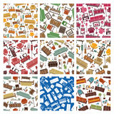 Furniture interior seamless pattern backgrounds Stock Photo
