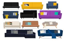 Furniture for interior. Sofas with cushions. Vector flat illustration. Vector illustration. Painted in shape royalty free illustration