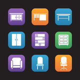 Furniture items flat design icons set Royalty Free Stock Photo