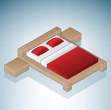 Furniture: King Size Bed with Night Stands Royalty Free Stock Image
