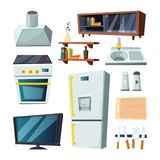 Furniture for kitchen and living room. Vector stove and sink, fridge equipment and exhaust illustration Stock Image