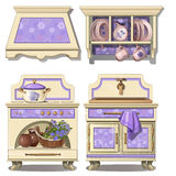 Furniture for kitchen in retro style, purple color royalty free illustration