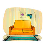 Furniture with lamp Royalty Free Stock Images