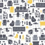 Furniture, lamps and plants for the home. Vector seamless pattern royalty free illustration
