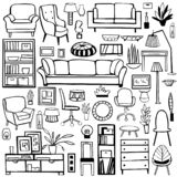 Furniture, lamps and plants for the home. Vector sketch  illustration stock illustration
