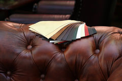 Furniture leather. Samples of furniture leather Royalty Free Stock Photography