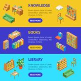 Furniture for Library 3d Banner Horizontal Set Isometric View. Vector vector illustration