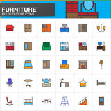 Furniture line icons set, Home Interior filled outline vector symbol collection, linear pictogram pack isolated on white. Colorful logo illustration Stock Image