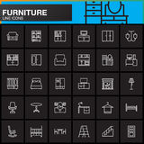 Furniture line icons set, Home Interior outline vector symbol collection, linear pictogram pack isolated on black. Logo illustration Stock Images
