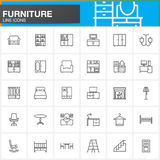 Furniture line icons set, Home Interior outline vector symbol collection, linear pictogram pack isolated on white. Logo illustration Royalty Free Stock Image