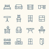 Furniture line icons Stock Images