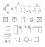 Furniture linear vector symbols. Floor plan icons. Set. Interior and toilet, washbasin and bath, table and chair illustration stock illustration