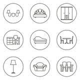 furniture Linha grupo do ícone ilustração royalty free