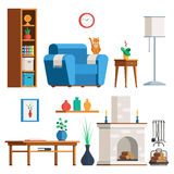 Furniture Living room set. Furniture Interior set. Living room: lamp, coffee table, plant, fireplace, firewood, cat, bookshelves armchair Flat style trendy Stock Image