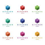Furniture logo design concept (kitchen and other furniture). Different colors variant. Royalty Free Stock Image