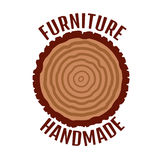 Furniture logo. Tree rings background. Annual tree Stock Images