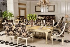 Furniture in luxury dining room royalty free stock images