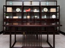The study of the modern Chinese family. Furniture made of mahogany has been loved by the Chinese since ancient times. With the development of time, Chinese royalty free stock photography