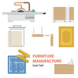Furniture manufacture Flat Set. Vector furniture manufacture flat set. Infographics of process of production cabinet furniture  on white background Royalty Free Stock Photo