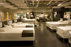 Furniture mattress bed store. Lots of mattresses for sale in a furniture store Royalty Free Stock Photo