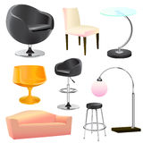 Furniture objects. Vector set of furniture objects vector Royalty Free Stock Photography