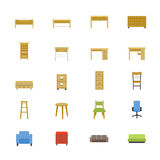 Furniture Office and Home Accessories Flat Icons color Stock Images