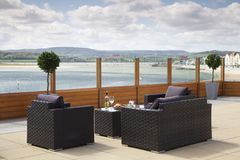 Furniture, Outdoor Furniture, Table, Wicker stock photo