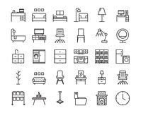 30 Furniture outline icon set. Icon for web and UI  design. Modern minimalistic style. 64x64 Pixel perfect thin line icons design. vector illustration Royalty Free Stock Images