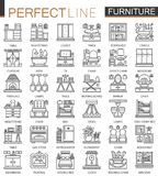 Furniture outline mini concept symbols. Interior furniture modern stroke linear style illustrations set. Perfect thin. Line icons Stock Photography