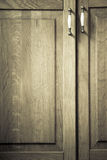 Furniture part. Closeup of wooden kitchen cabinet Royalty Free Stock Photos