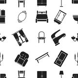 Furniture pattern icons in black style. Big collection of furniture vector symbol stock illustration Stock Images