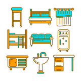 Furniture pieces colorful graphic set isolated on white Royalty Free Stock Photo