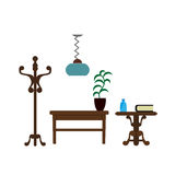 Furniture pieces living room lamp, hanger and table vector flat icons. Furniture pieces of table and flower plant in flowerpot, nightstand with books, wardrobe royalty free illustration