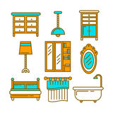 Furniture pieces set in graphic design isolated on white. Furniture pieces collection in graphic design isolated on white. Vector poster of hanging and standing Stock Image