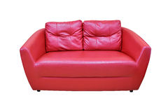 Furniture. Red two-seat modern sofa with pillows isolated on white background Royalty Free Stock Images