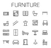 Furniture related vector icon set. Well-crafted sign in thin line style with editable stroke. Vector symbols isolated on a white background. Simple pictograms vector illustration