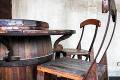Table chairs made from wine fermentation tanks stock photography