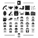 Furniture, rest, professions and other web icon in black style.plumber, tools, attributes icons in set collection. Stock Images