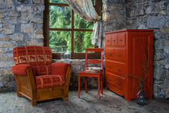 Furniture in retro room Stock Photography