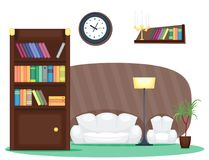 Furniture room interior design home decor concept icon set flat vector illustration. Furniture room design decor elements and room interior design furniture stock illustration