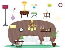 Furniture room interior design home decor concept icon set flat vector illustration. Furniture room design decor elements and room interior design furniture royalty free illustration
