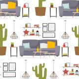 Furniture room interior design apartment home decor concept flat contemporary architecture indoor seamless pattern. Furniture room design decor apartment vector illustration