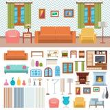 Furniture room interior design and home decor concept icon set flat vector illustration. Furniture room interior design decor elements and room design furniture stock illustration